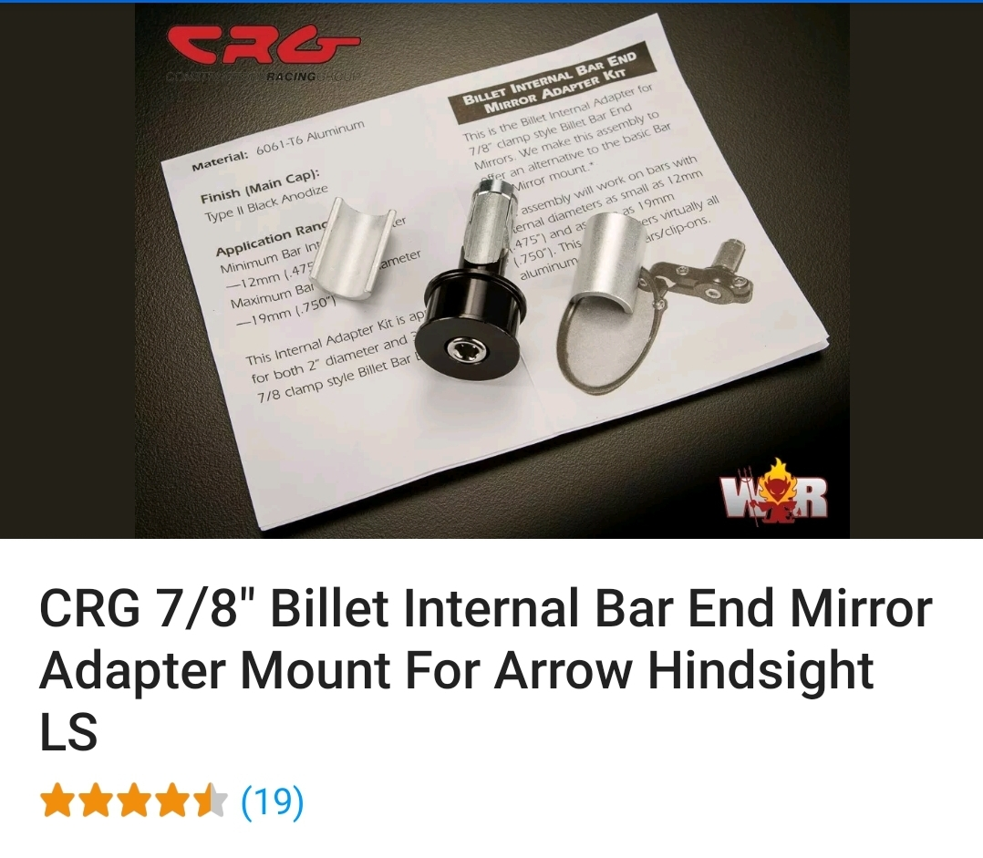 "7//8/"" Billet Internal Bar End Mirror Adapter Mount For Arrow Hindsight LS CRG"